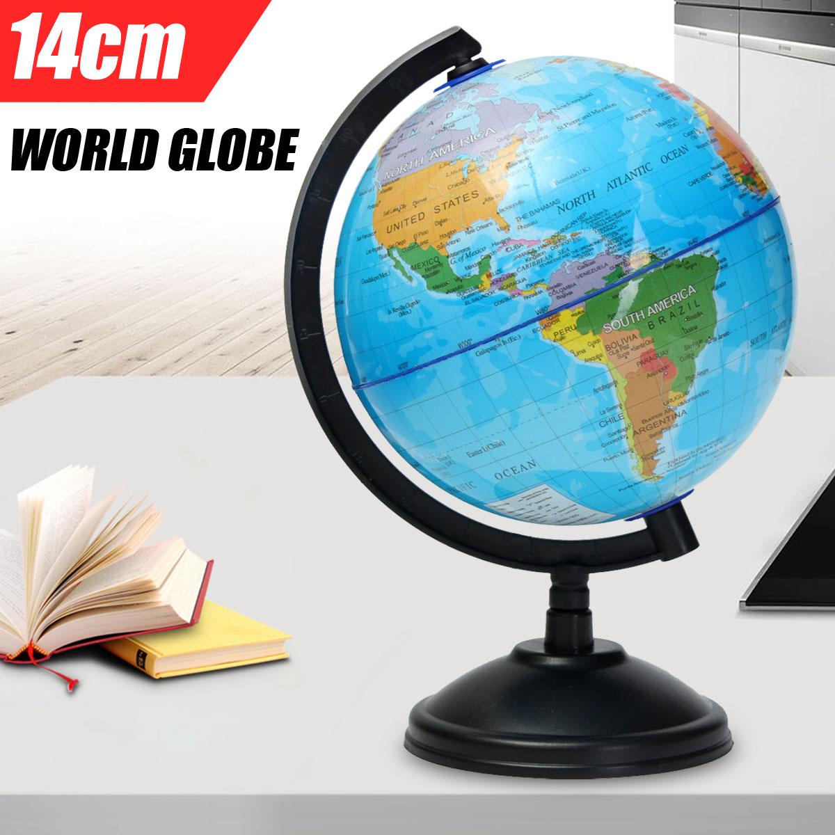 Mapa del mundo de 14cm en el soporte juguetes grandes para estudiantes globo educativo límites nacionales Rivers Montains Geography escolar suministros
