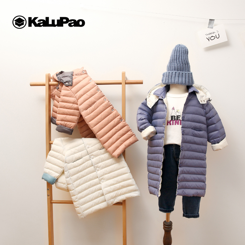Kalupao 3-9ys Children Winter Hooded Jacket Down Baby Warm Coat Long Cotton Clothes for Boys and Girls With Thick