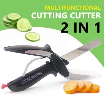 Ciseaux de cuisine inox 2 en 1 planche d couper hachoir astucieux fruits l gumes coupeur