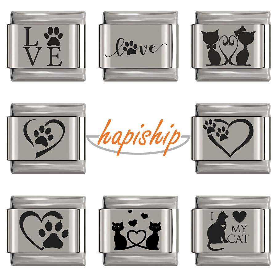 Hapiship 2020 moda original daisy bonito amor gato cão charme links apto 9mm pulseira de aço inoxidável jóias diy fazendo dj296