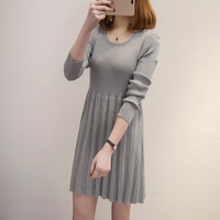 6003 Autumn And Winter New Style Sweater WOMEN'S Knit Sweater Long sleeved Pullover Large Zipper Pack Long Crew Neck Dress Solid