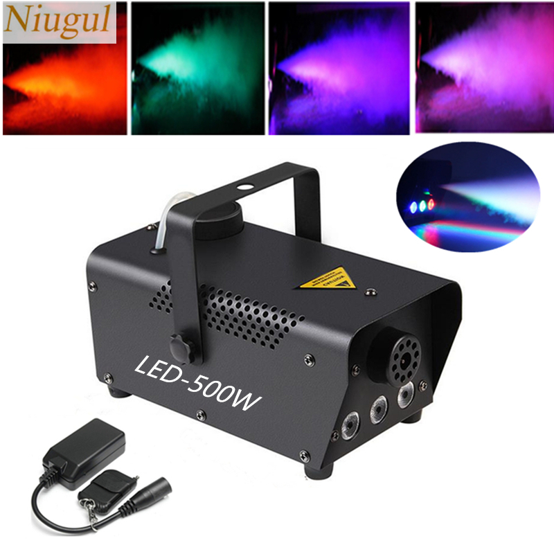 Mini 500W LED RGB Wireless Remote Control Fog Machine Pump DJ Disco Smoke Machine For Party Wedding Christmas Stage LED Fogger