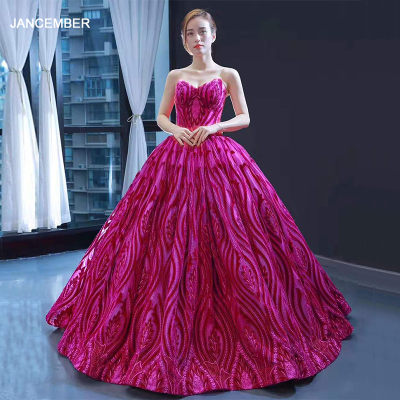 J66723 Jancember Evening Gowns For Women Ball Gown Strapless Beading Sequined Appliqued Lace Up Prom Dress Sukienka Wieczorowa