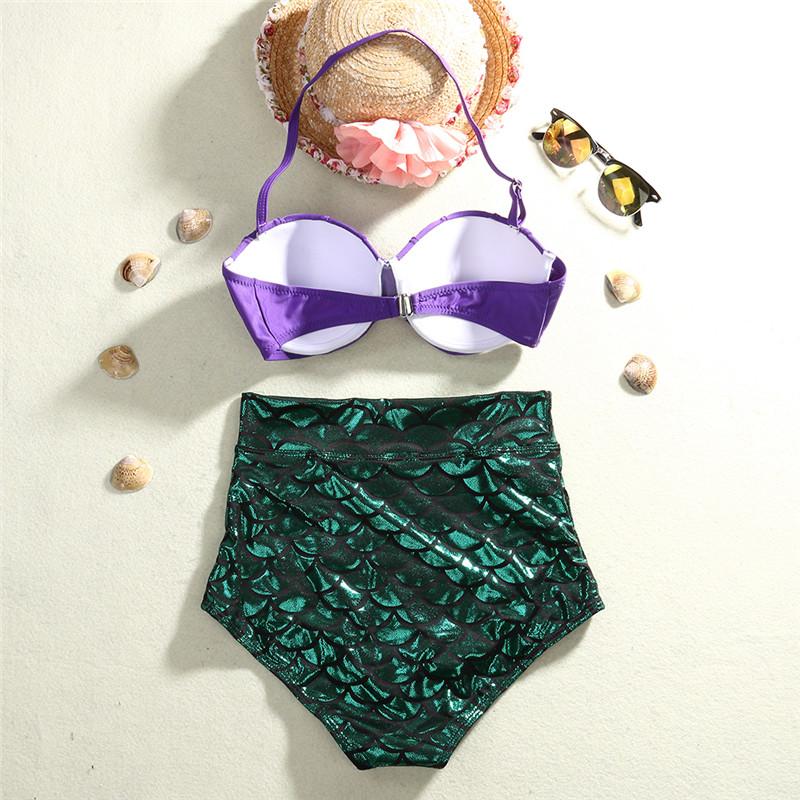 Hirigin Для женщин бандажный купальник бикини пуш-ап бюстгальтер Mermaid купальник в виде ракушки, одежда для плавания и купания, комплект из 2 пред... 20