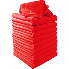 10Pcs Red Pulizia Dell'automobile Detailing Cucina Molle Panni Bulk Asciugamano Poliestere Set(China)