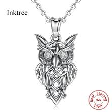 Inktree Sterling Silver owl necklace bird pendant on tree branch Crystal CZ everyday jewelry holidays gift D445