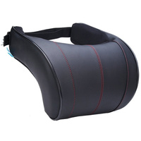 1Pcs Pu Leather Auto Car Neck Pillow Memory Foam Pillows Neck Rest Seat Headrest Cushion Pad Black with Red