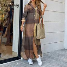 Kobiety skręcić w dół kołnierz koszula długa sukienka lato elegancki guzik Party Dress Casual wiosenna z długim rękawem plaża Maxi sukienka Vestido 4XL tanie tanio ELSVIOS CN (pochodzenie) COTTON Poliester A-LINE 09300 Pełna REGULAR WOMEN Przycisk Na co dzień Naturalne Stałe Kostek
