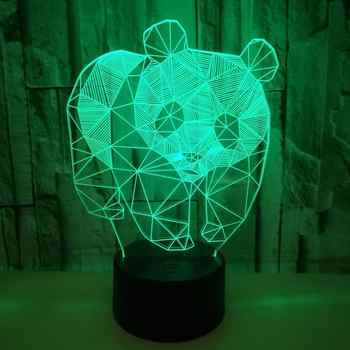 3D China Panda Night Light 7 Color Cute Lamp Touch Switch Bedroom Decorations Smart Home Gifts 3D Led Illusion Table Lamp