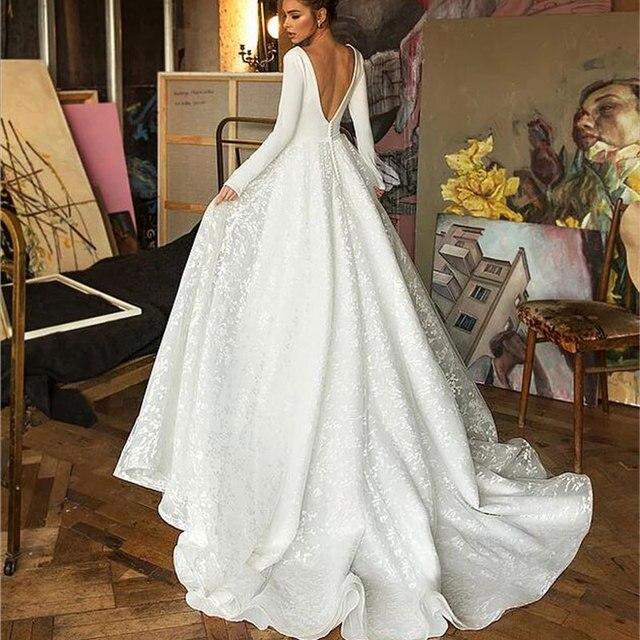 Boho Robe De Mariee Vestido Novia Wedding Dress Satin Longue Long Sleeves Robe De Soiree Simple Bride To Be 2