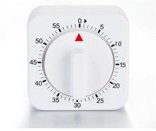 Temporizador de cozinha de 60 minutos, alarme de contagem, lembrete, temporizador mecânico branco e quadrado para cozinha