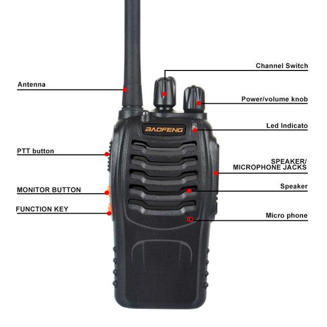 2 قطعة/زوج USB شاحن اسلكية تخاطب Baofeng BF-888H UHF 400-470MHz 16CH VOX المحمولة اتجاهين راديو bf-888h 5