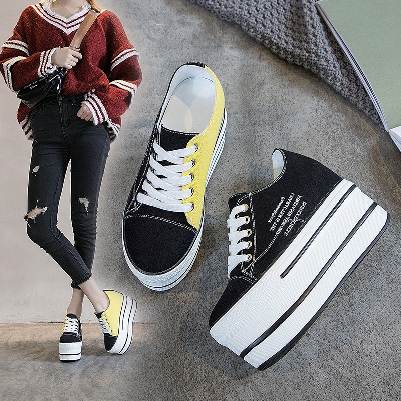 Single Shoes Female 2020 Inside Increase Women's Shoes Autumn Muffin With Casual Shoes Thick Bottom Wild Canvas Shoes Low Help