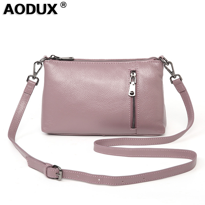 Aodux 2019 NEW Small Summer 100% Genuine Leather Cowhide Women Long Strap Shoulder Bags Female Handbag Lady Messenger Bag Purse - 1