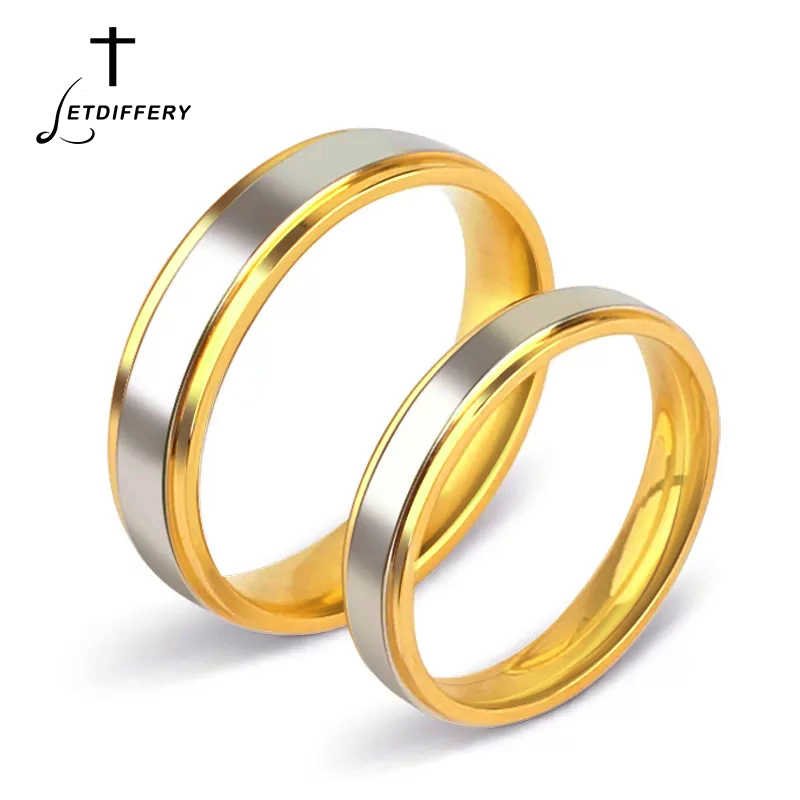 Letdiffery Simple Stainless Steel Silver Gold Wedding Rings 4mm 6mm Smooth Couple Ring for Lovers Women Men Engagement Jewelry