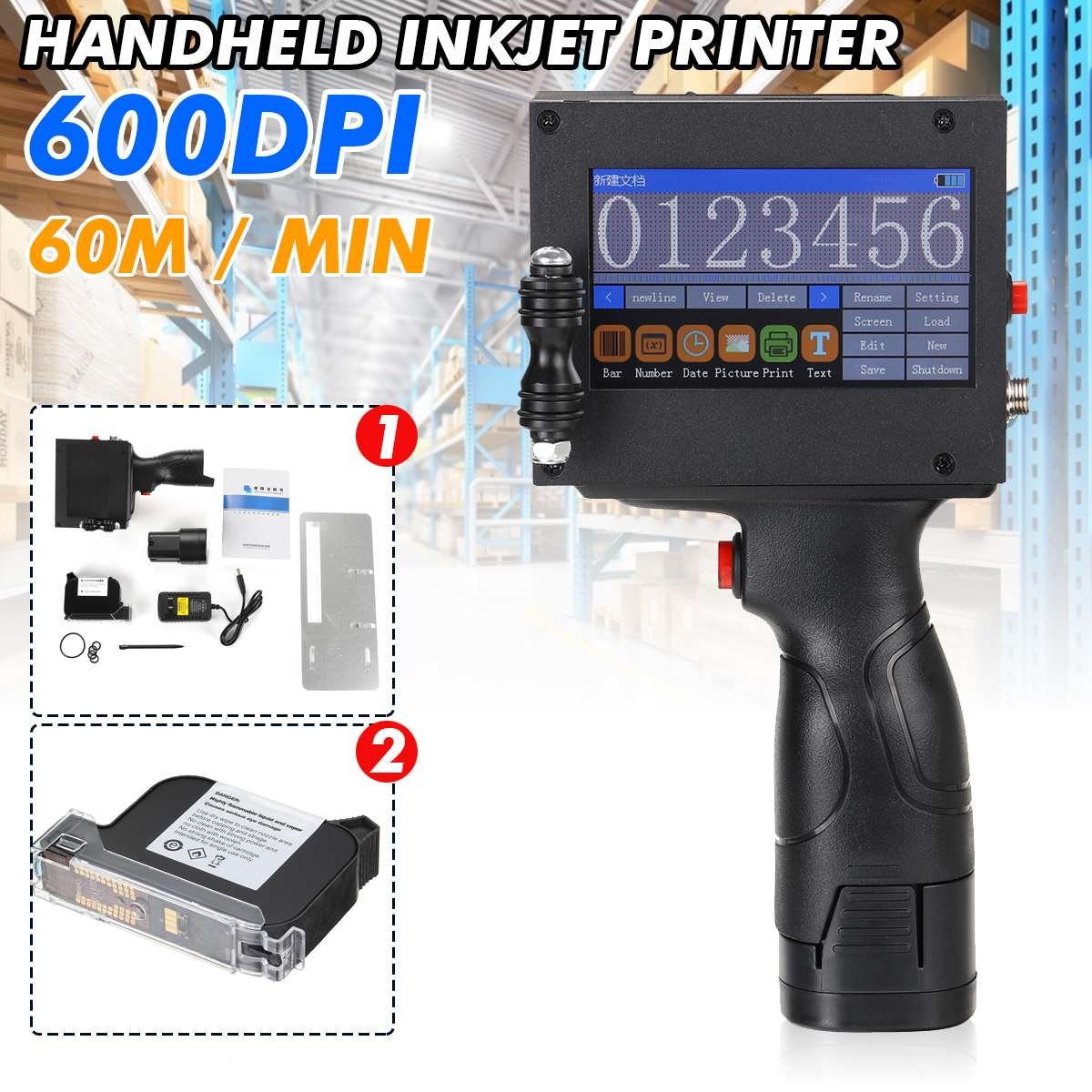 600DPI portable hand jet handheld Touch inkjet printer for logo/ expiry date/batch code/serial number/label/barcode/QR code