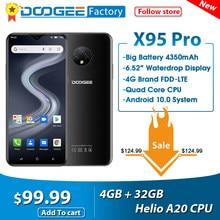 Doogee x95 pro helio a20 4gb + 32gb telefones celulares 6.52 screen screen tela 13mp triplo câmera smartphone 4350mah android10 os 4g lte telefone móvel