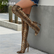Eilyken Winter Fashion Snake grain Pu Leather Boots Women Knee High Boot Female Sexy High Heels Ladies Pointed Toe Party Shoes стоимость