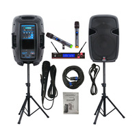 STARAUDIO Dual 12 2000W PA DJ Powered Active Speakers System W/Bluetooth DJ Stands 2CH UHF Handheld Wireless Microphone SSD 12A
