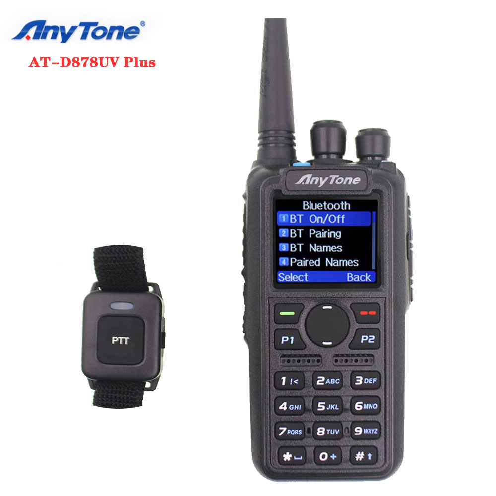 Anytone AT-D878UV Plus Walkie Talkie VHF 136-174MHz UHF 400-470MHz GPS APRS Bluetooth PTT DMR Ham Radio Station With Cable