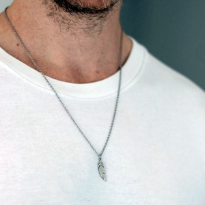feather necklace chain stainle