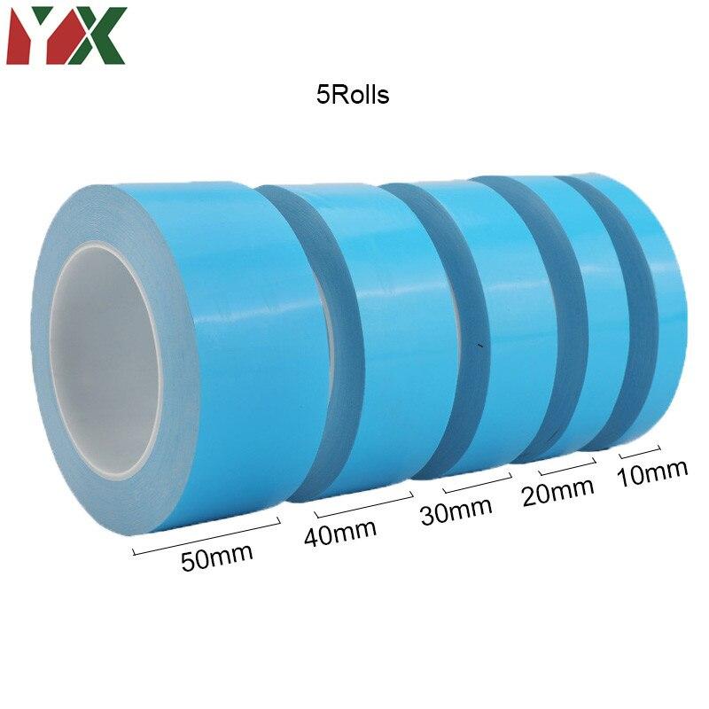 5 rouleaux 10mm 20mm 30mm 40mm 50mm ruban de transfert Double face ruban adhésif conducteur thermique pour puce PCB LED bande radiateur 25M