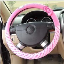 Автомобильные аксессуары мультфильм розовый hello kitty Руль крышка натуральный каучук здоровый дышащий Универсальный 38 см для женщин и девочек