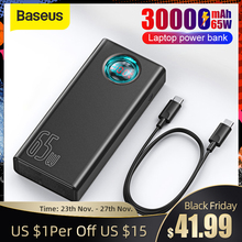 Baseus Power Bank 30000mAh 65W PD Quick Charge QC3.0 Powerbank For Laptop External Battery Charger For iPhone Samsung Xiaomi