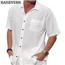 2019 Men's Short Sleeve Button Shirts Casual Slim Fit Streetwear Solid Pocket Shirt Male Linen Tops Plus Size plus size cuffed sleeve linen pocket shirt