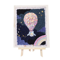 DIY Knitting Wool Rug Hooking Kit Handcraft Embroidery Creative Gift with Punch Needle Scissor Wooden Frame Hot Air Balloon