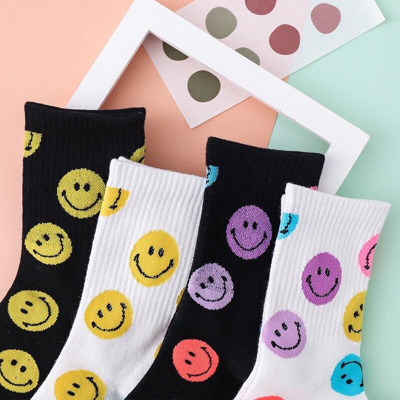 Счастливые носки, милые Мультяшные носки, забавные женские кавайные носки, женские носки в стиле Харадзюку, модные носки в Корейском стиле д...