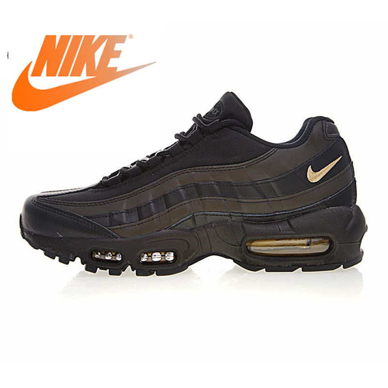 Official Authentic NIKE AIR MAX 95 PREMIUM Men's Running Shoes Outdoor Sports Shoes Black Gold Non-slip Fashion 924478-003