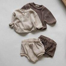 Melario-Juego de ropa infantil para recién nacido, ropa Lisa para niña, Tops de manga larga y pantalones cortos, conjunto de 2 uds.