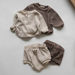 Melario Newborn Infant Clothes Set Solid Baby Girl Clothes Long Sleeve Tops and Shorts Baby Boys 2Pcs Clothes Set