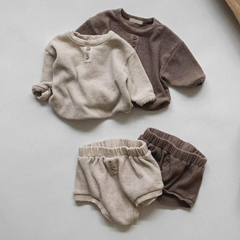 Melario/комплект одежды для новорожденных, однотонная Одежда для маленьких девочек топы с длинными рукавами и шорты комплект одежды из 2 предметов для маленьких мальчиков