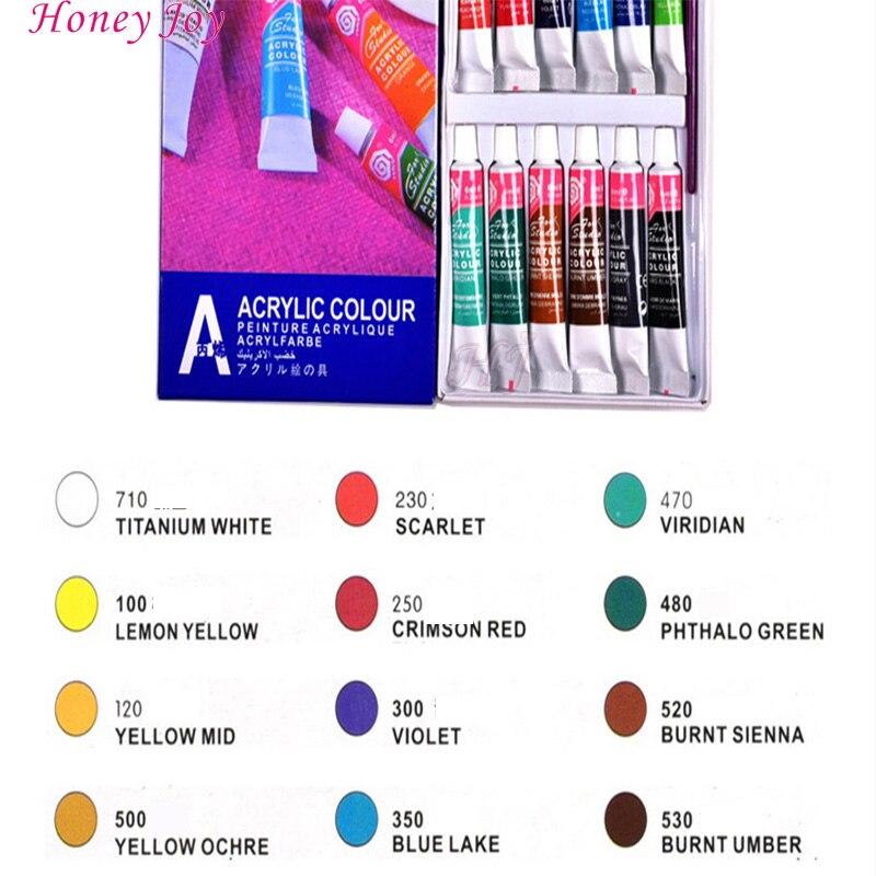 12 cores acrilico pintura cor conjunto profissional 01