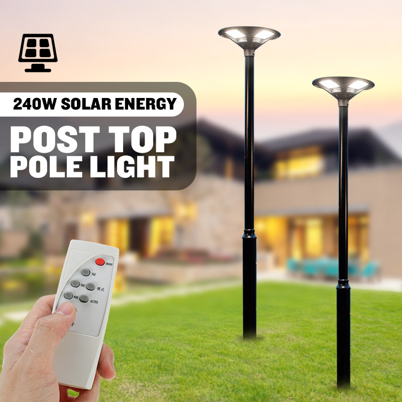 Outdoor LED Post Top Pole Lights 240W Work Circular Area Light Fixture IP65 Waterproof Solar Garden Lighting With Remote Control
