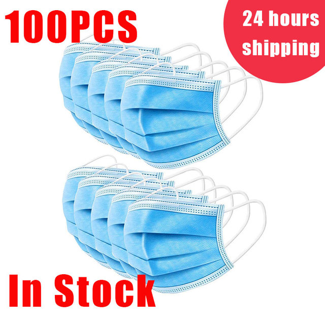 Antivirus 3 Layers Face Mask Disposable Non Woven Filter Protection Anti Dust Spray Bacteria Flu Virus Safety Earloop Gas Masks