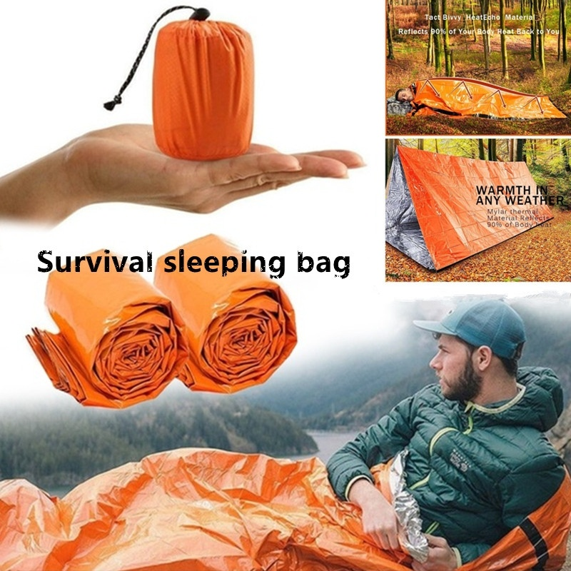 Camping Sleeping Bag Outdoor Hiking Gear Kit Emergency Survival Thermal Mylar