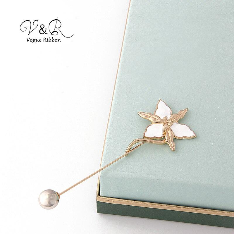 Enamel Flower Long Metal Bar Ball Brooch Pin (6)