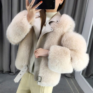 Image 2 - Zdfurs * 輸入キツネの毛皮のパッチワーク両面毛皮モト & バイカーコート女性2020革の毛皮のオーバーコート