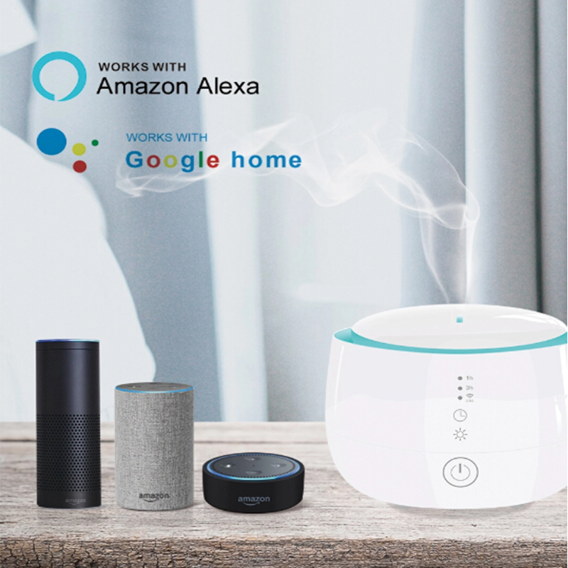 300ml Smart Wifi Wireless Aroma Essential Oil Diffuser Compatible With Amazon Alexa Google Home For Room Home Bedroom