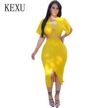 цены на KEXU Sexy Deep V Neck Women Hollow Out Maxi Dress New Fashion Bodycon Bandage High Split Slim Dress Summer Night Club Clothing в интернет-магазинах