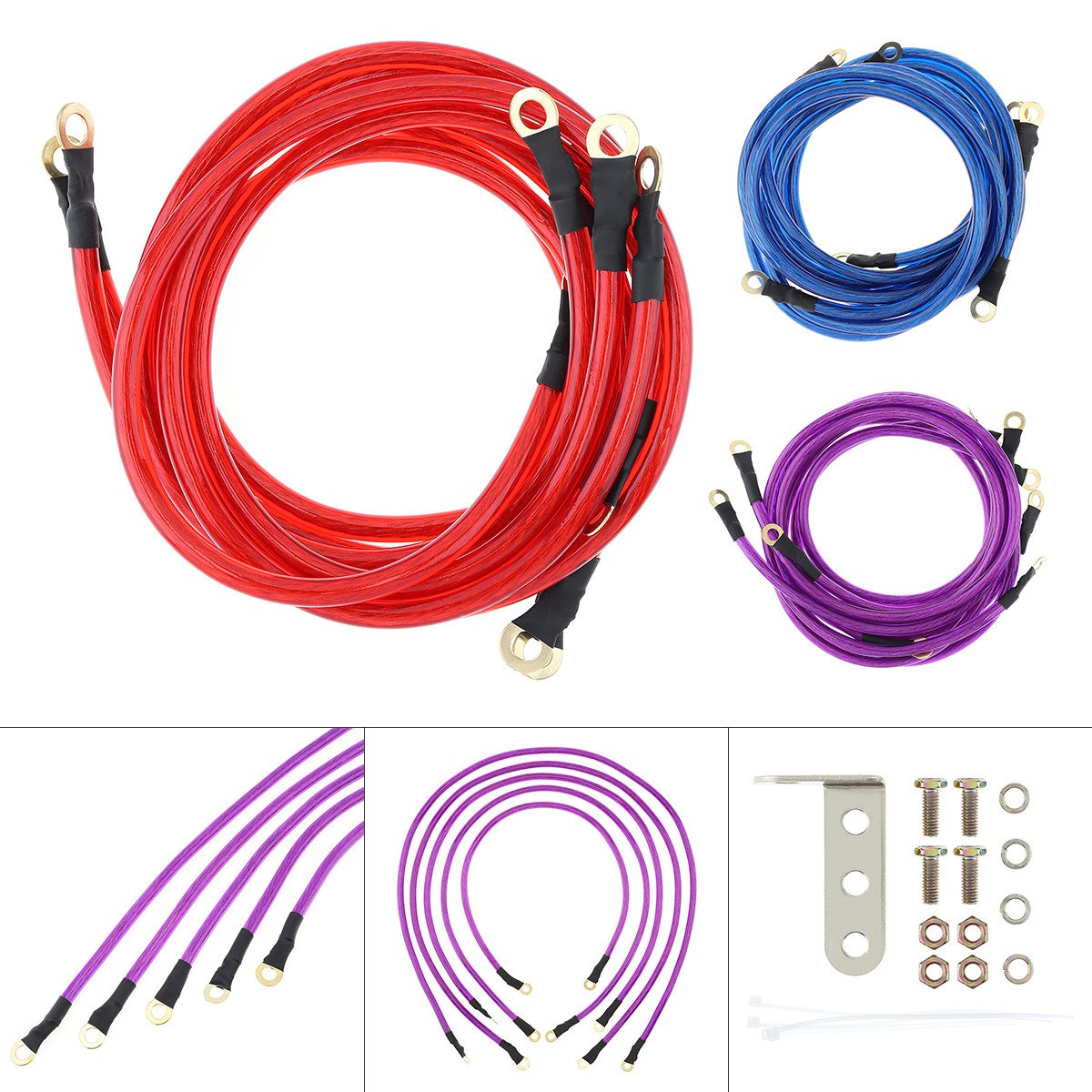 5 Point Car Universal Earth Ground Cables Grounding Wire System Kit High Performance Improve Power for Car Truck