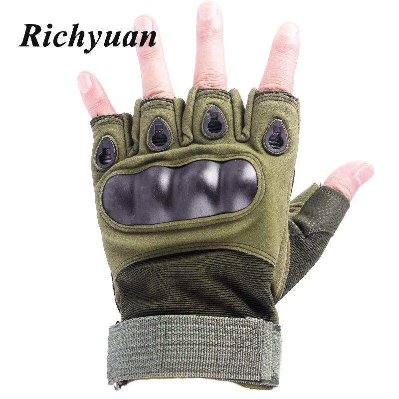 Outdoor Motorcycle Gloves Half Finger Hard Knuckle Motorbike Motocross Military Tactical Cycling Protective Fingerless Gloves
