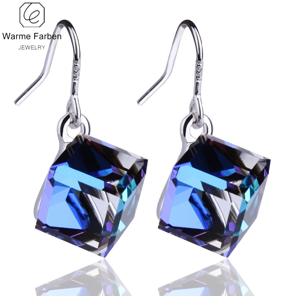 Warme Farben Crystals From Swarovski Square Cube Crystal Dangle Earring Fine Jewelry 925 Silver Earrings Gift Lady Brincos title=