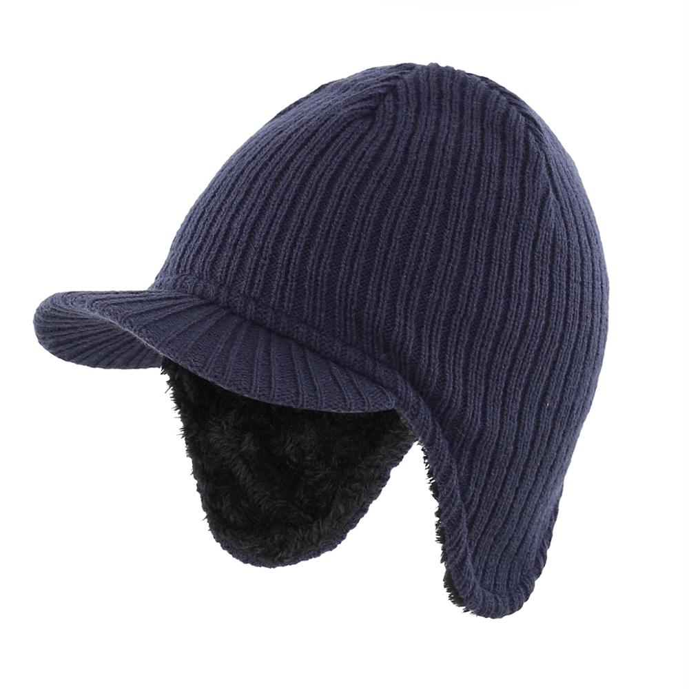Connectyle Men's Winter Hat With Earflap Windproof  Visor Beanie Soft Warm Knit Hat With Lining