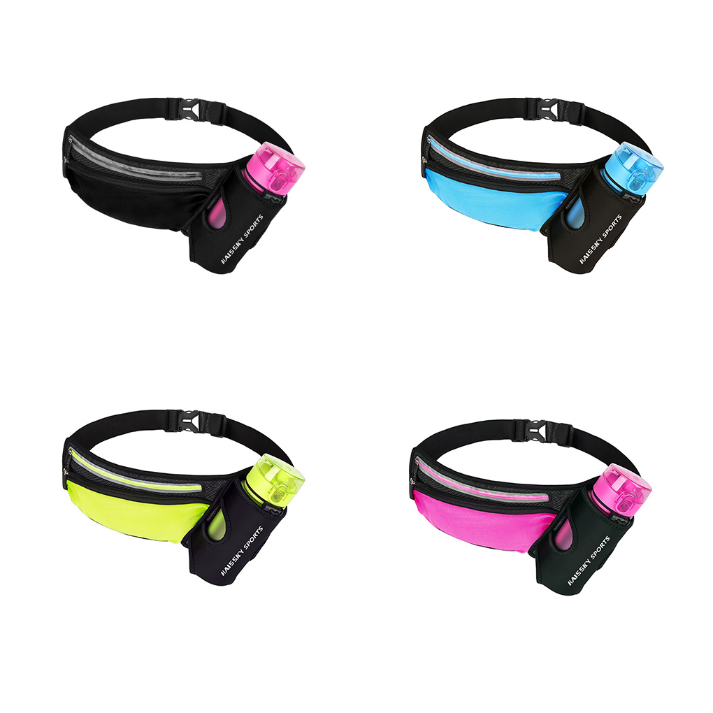 Running Belt Waist Bag Fanny Pack Women Men Water Bottle Holder Elastic Reflective Lightweight Waterproof Pouch