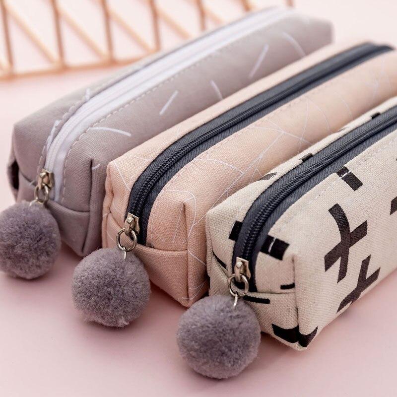 Kawaii Creative Plush Ball Zippers Canvas Pencil Case Cute Multifunction Pencil Box Office School Stationery Gift Supplies