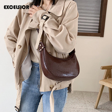 EXCELSIOR Stylish ins Crossbody Bag PU Leather Womens Shoulder Bags Crocodile Pattern Hobos Big Capacity Handbags for Female